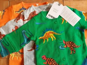 NEW baby boys 3pk bright dinosaur sleepsuits 6-9 months NEXT