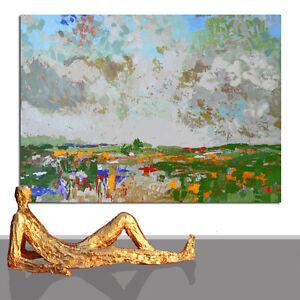 PAINTING LARGE LANDSCAPPE # GREY SHADES CANVAS ART ORIGINAL INTERIOR * 71 x 51