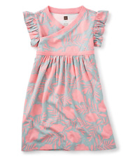 NWT Tea Collection Banksia Wrap Neck Dress Sz: 5 Waterslide Peach and Gray