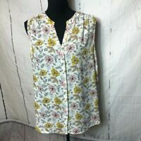 Grace Womens Blouse Size Large White Pink Gold Floral Sleeveless VNeck Buttonup