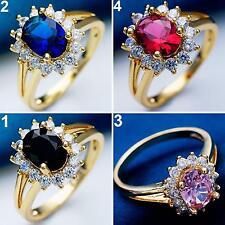 BA_ Elegante Braut Hochzeit Verlobung glänzend Strass Finger Ring Schmuck warm