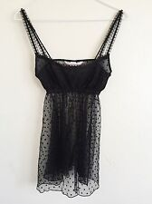 vtg Victoria's Secret Sheer Lace Black Babydoll Slip Lingerie Nighty XS