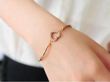 Beautiful Gold Crystal Rhinestone Heart Friendship Bracelet Gift NEW