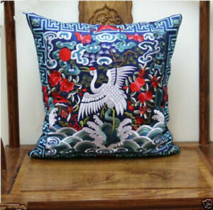 BRAND NEW CHINESE classical SILK Embroidered Crane CUSHION COVER-Blue