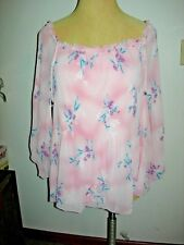e66d5102b08 Lane Bryant Pink Floral off The Shoulder Pleated Blouse 26 28 26w 28w 3x 4x
