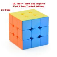 2 Cubes- UK 3x3x3 Stickerless Speed Magic Rubix Cube, Cube Kids Puzzle Toy