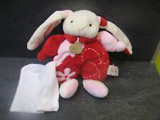 peluche doudou lapin blanc rouge rose fleur 25 cm baby nat'