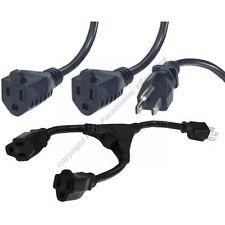 Lot5,5pk 2way/Y/Splitter AC Power Strip/Outlet Liberator Cable/Cord NEMA5-15P~R2