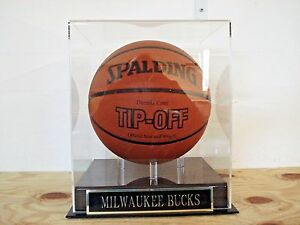 Milwaukee Bucks Basketball Display Case With An Engraved Nameplate