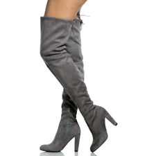 Womens Ladies Thigh High Over The Knee Long Lace Up Stretchy Boots Shoes Size