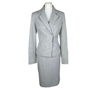 CALVIN KLEIN Women 2PC Gray Polyester Blend Lined Metal Clasp Skirt Suit Size 8