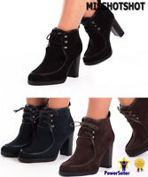 New Women's Ladies High Heels Chunky Platform Lace Up Ankle Shoes Boots Booties