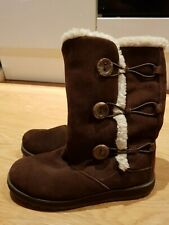 Skechers Womens  winter Boots  faux fur cuffs  suede Uk 5 Eur 38 Brown vgc