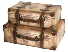 Vintiquewise Old World Map Leather Vintage Suitcase Set of 2, QI003048.2