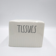 Rae Dunn Tissue Box Cover. Cream with Black letters