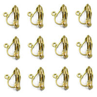 12 Ear Clip Pinch Bail Earring Hook Earwire Dangle Hooks for Jewelry Making