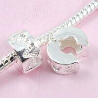10pcs Silver /P Love Clip Lock Stopper Beads Fit European Charm Bracelet K10