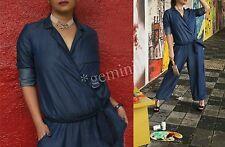 ZARA 100 % LYOCELL BLUE DENIM PAJAMA Pyjama Style JUMPSUIT OVERALL GÜRTEL SIZE S