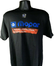 Black T-Shirt w/ 1985-90 Mopar Logo Chrysler Corporation Genuine Parts Emblem