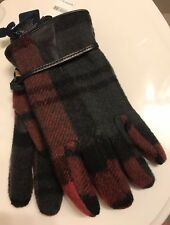 Polo Ralph Lauren Wool Gloves Plaid New 120$ Leather Christmas Colors Red Green