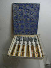 Vintage German 1950s Art Deco Style Cake Fork Set of 6 in Box #P