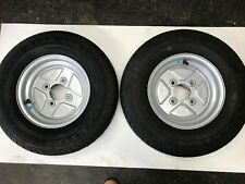 """Two 10"""" Trailer Wheel and Tyre 145/80R10 69T 4 stud 4"""" pcd"""