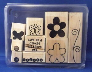 LOVE WITHOUT END two step 9pc Set - Stampin' Up Wood Rubber Stamp in Case SALE
