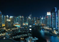 GLITTERING CITY DUBAI NEW A3 CANVAS GICLEE ART PRINT POSTER