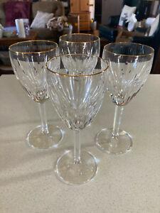 "4 Very RARE Waterford Crystal Gold Carina Wine Stems 7"" Tall Circa 1987"