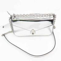 Calvin Klein Womens Crossbody Bag Metallic Lock Chain Strap Flap Zip Small New