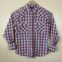 Wrangler Western Pearl Snap Shirt Mens Large Red White Plaid Long Sleeve Cowboy