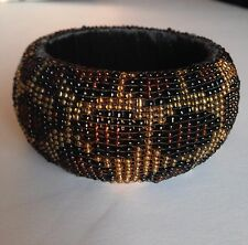 "Olivia Collection Tortoise Beaded Silk Cuff Bracelet Wide 40mm/1,5"" UK"