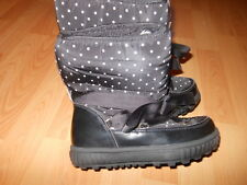 Bnwts Next Girls Black Snow Boots with White Polka Dots Fits Size 2 Eu 34 1/2