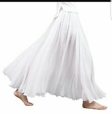 Sanrense Women's Casual Cotton Linen Long Maxi Skirt with Elastic Waist Band S-L