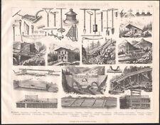1870 Gravure originale agriculture bois exploitation forestière outils bûcheron