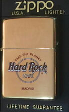 "Hard Rock Cafe MADRID Gold ZIPPO Lighter NEW w/Red Sticker in Box ""STP"" HRC LOGO"