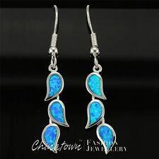 3 Nature Leaves Shape Ocean Blue Fire Opal Silver Jewelry Dangle Drop Earrings