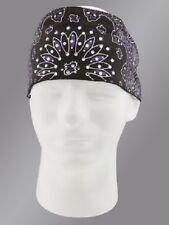 Purple Black Rhinestones Paisley Chop Top Bandanna Head Wrap Sweatband Headband