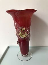 Vintage Flower Glass Vase Red color