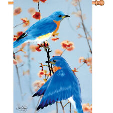 Embroidered BLUEBIRDS in the Spring House Flag Blue BIRD