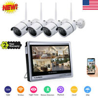 Wired/Wireless 4CH 1080P NVR Outdoor 720P WiFI IR-CUT Camera Security System Kit