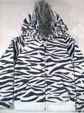 NWOT Old Navy Gray White Zebra Ears Faux Fur Mohawk Fleece Hoodie Jacket XS 5 G6
