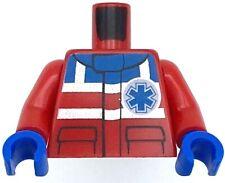 Lego New Red Minifigure Torso Safety Stripes Small EMT Star EMT Star of Life