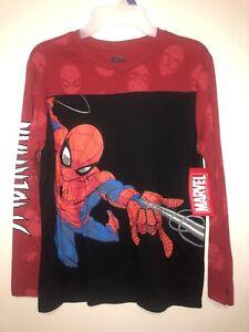 Marvel Spiderman  Boys Web Slinging Long Sleeve Tee (X-Large 14-16) Black