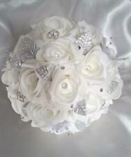 "White Wedding Bridal Bouquet Silver Diamante Hearts Hand-Made 9""( 23) cm"