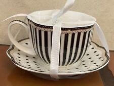Grace's Teaware Black White Stripe Tea Cup And Saucer Set Josephine