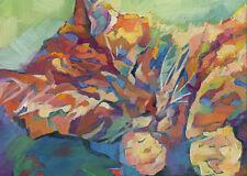 KMSchmidt ACEO Ltd Ed Collectible Art Card- fauve impressionist ORANGE TABBY CAT