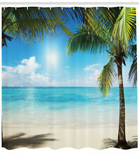 Shower Curtain Beach Exotic Palm Trees Tropical Ocean Decor 70 Inches Long