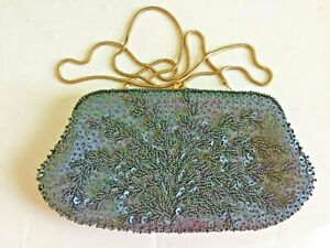 Carla Marchi clutch purse small with metal strap black beaded 5 x 9 prom formal