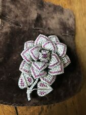 Fabulous 925 silver, cubic zirconia and rough Indian rubies brooch/pendant.